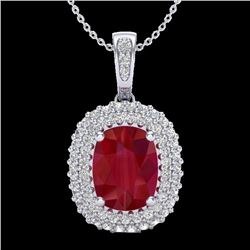 3.15 CTW Ruby & Micro Pave VS/SI Diamond Certified Halo Necklace 18K White Gold - REF-90R9K - 20417