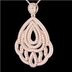 1.50 CTW Micro Pave VS/SI Diamond Certified Necklace 14K Rose Gold - REF-140M4F - 21280