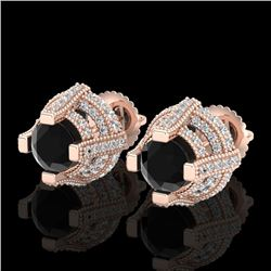 2.75 CTW Fancy Black Diamond Solitaire Micro Pave Stud Earrings 18K Rose Gold - REF-180R2K - 37626