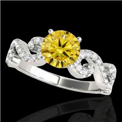 1.40 CTW Certified SI/I Fancy Intense Yellow Diamond Solitaire Ring 10K White Gold - REF-162H4M - 35