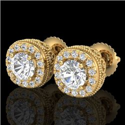 1.69 CTW VS/SI Diamond Solitaire Art Deco Stud Earrings 18K Yellow Gold - REF-263R6K - 37120