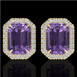 9.40 CTW Amethyst & Micro Pave VS/SI Diamond Halo Earrings 18K Yellow Gold - REF-77A8V - 21217