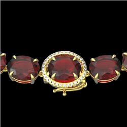 145 CTW Garnet & VS/SI Diamond Halo Micro Solitaire Necklace 14K Yellow Gold - REF-455R6K - 22298