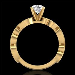 1.01 CTW VS/SI Diamond Solitaire Art Deco Ring 18K Yellow Gold - REF-218N2A - 37318