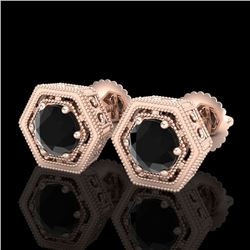 1.07 CTW Fancy Black Diamond Solitaire Art Deco Stud Earrings 18K Rose Gold - REF-73N3A - 37507