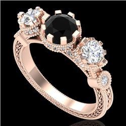 1.75 CTW Fancy Black Diamond Solitaire Art Deco 3 Stone Ring 18K Rose Gold - REF-153W6H - 37878