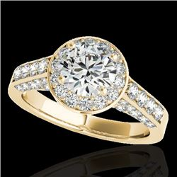 2.56 CTW H-SI/I Certified Diamond Solitaire Halo Ring 10K Yellow Gold - REF-392A7V - 34053