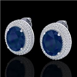 9.20 CTW Sapphire & Micro Pave VS/SI Diamond Certified Earrings 18K White Gold - REF-190R2K - 20234