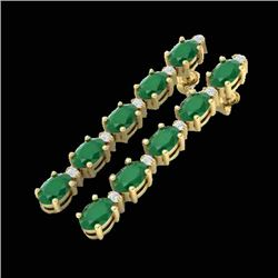 17.97 CTW Emerald & VS/SI Certified Diamond Tennis Earrings 10K Yellow Gold - REF-176F4N - 29479