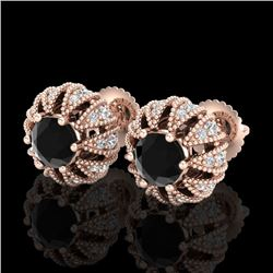 2.01 CTW Fancy Black Diamond Art Deco Micro Pave Stud Earrings 18K Rose Gold - REF-143H6M - 37731