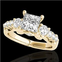 1.75 CTW VS/SI Certified Princess Diamond 3 Stone Ring 10K Yellow Gold - REF-394X9R - 35360