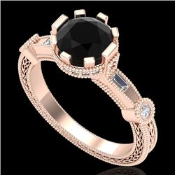 1.71 CTW Fancy Black Diamond Solitaire Engagement Art Deco Ring 18K Rose Gold - REF-123N6A - 37857