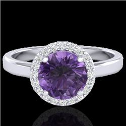 2 CTW Amethyst & Halo VS/SI Diamond Micro Pave Ring Solitaire 18K White Gold - REF-48F5N - 21617