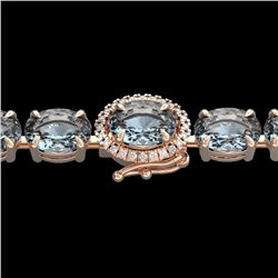 15.25 CTW Aquamarine & VS/SI Diamond Eternity Tennis Micro Halo Bracelet 14K Rose Gold - REF-176N4A