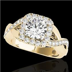 2 CTW H-SI/I Certified Diamond Solitaire Halo Ring 10K Yellow Gold - REF-345Y5X - 33318