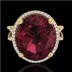 10 CTW Garnet & Micro Pave VS/SI Diamond Certified Halo Ring 18K Yellow Gold - REF-80A2V - 20964
