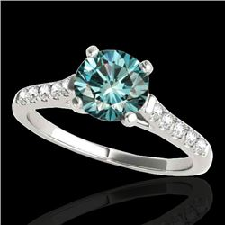1.20 CTW SI Certified Fancy Blue Diamond Solitaire Ring 10K White Gold - REF-145F3N - 34975