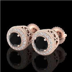 1.55 CTW Fancy Black Diamond Solitaire Art Deco Stud Earrings 18K Rose Gold - REF-103R6K - 37654