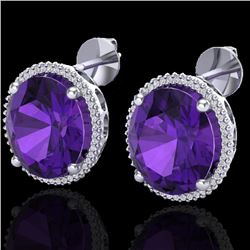 20 CTW Amethyst & Micro VS/SI Diamond Certified Halo Pave Earrings 18K White Gold - REF-123X3R - 202