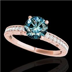 1.43 CTW SI Certified Blue Diamond Solitaire Antique Ring 10K Rose Gold - REF-180Y2X - 34618