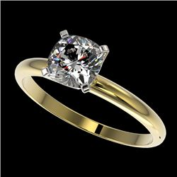 1 CTW Certified VS/SI Quality Cushion Cut Diamond Solitaire Ring 10K Yellow Gold - REF-297A2V - 3290