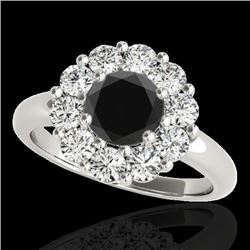 2.85 CTW Certified VS Black Diamond Solitaire Halo Ring 10K White Gold - REF-140Y9X - 34435