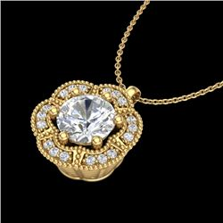 1.01 CTW VS/SI Diamond Solitaire Art Deco Necklace 18K Yellow Gold - REF-245F5N - 37111