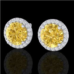 4 CTW Citrine & Halo VS/SI Diamond Micro Pave Earrings Solitaire 18K White Gold - REF-62Y2X - 21486