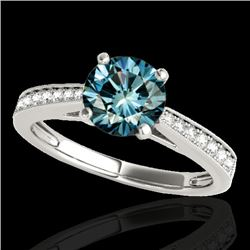 1.25 CTW SI Certified Fancy Blue Diamond Solitaire Ring 10K White Gold - REF-158H2M - 35010