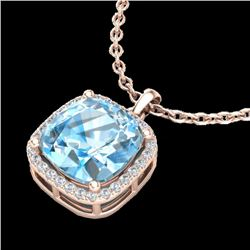 6 CTW Sky Blue Topaz & Pave Halo VS/SI Diamond Necklace 14K Rose Gold - REF-45W3H - 23089