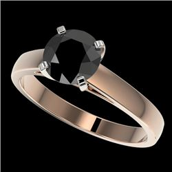 1.50 CTW Fancy Black VS Diamond Solitaire Engagement Ring 10K Rose Gold - REF-36M3F - 33023