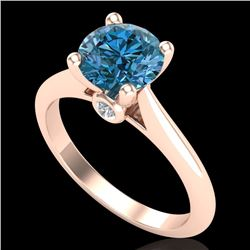 1.60 CTW Intense Blue Diamond Solitaire Engagement Art Deco Ring 18K Rose Gold - REF-289V3Y - 38217