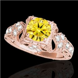 1.25 CTW Certified SI Intense Yellow Diamond Solitaire Antique Ring 10K Rose Gold - REF-167Y3X - 346