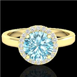 2 CTW Sky Blue Topaz & Halo VS/SI Diamond Micro Ring Solitaire 18K Yellow Gold - REF-48Y5X - 21624