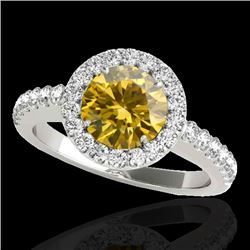 1.65 CTW Certified SI/I Fancy Intense Yellow Diamond Solitaire Halo Ring 10K White Gold - REF-259K3W