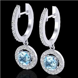 1.75 CTW Sky Topaz & Micro Pave Halo VS/SI Diamond Earrings 18K White Gold - REF-82H7M - 23259