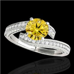 2 CTW Certified SI/I Fancy Intense Yellow Diamond Bypass Solitaire Ring 10K White Gold - REF-227Y3X