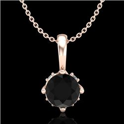 0.62 CTW Fancy Black Diamond Solitaire Art Deco Stud Necklace 18K Rose Gold - REF-56X4R - 37794