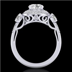 2.05 CTW VS/SI Diamond Solitaire Art Deco 3 Stone Ring 18K White Gold - REF-490W9H - 37262