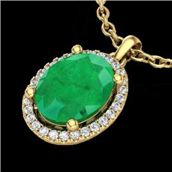 3 CTW Emerald & Micro Pave VS/SI Diamond Certified Necklace Halo 18K Yellow Gold - REF-59N3A - 21079