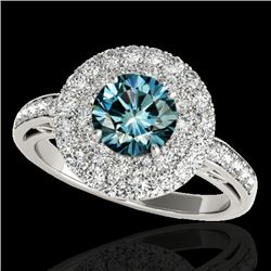 2.25 CTW SI Certified Fancy Blue Diamond Solitaire Halo Ring 10K White Gold - REF-218F2N - 34207
