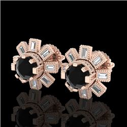 1.77 CTW Fancy Black Diamond Solitaire Art Deco Stud Earrings 18K Rose Gold - REF-118F2N - 37864