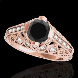 1.25 CTW Certified VS Black Diamond Solitaire Antique Ring 10K Rose Gold - REF-58H9M - 34688