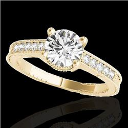 1.45 CTW H-SI/I Certified Diamond Solitaire Antique Ring 10K Yellow Gold - REF-200H2M - 34758