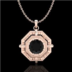 0.75 CTW Fancy Black Diamond Solitaire Art Deco Stud Necklace 18K Rose Gold - REF-80F2N - 37458