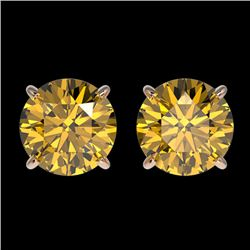 2 CTW Certified Intense Yellow SI Diamond Solitaire Stud Earrings 10K Rose Gold - REF-297X2R - 33089