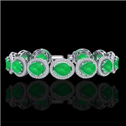 30 CTW Emerald & Micro Pave VS/SI Diamond Certified Bracelet 10K White Gold - REF-481N8A - 22686