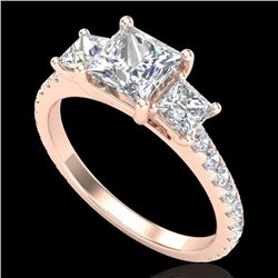 2.14 CTW Princess VS/SI Diamond Art Deco 3 Stone Ring 18K Rose Gold - REF-454N5A - 37206