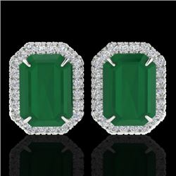 10.40 CTW Emerald & Micro Pave VS/SI Diamond Halo Earrings 18K White Gold - REF-142W4H - 21224