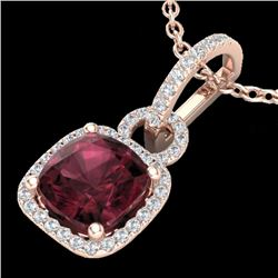 3.50 CTW Garnet & Micro VS/SI Diamond Certified Necklace 14K Rose Gold - REF-51R5K - 22984